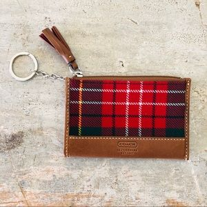 ♥️ Coach ♥️ Red Plaid Fringe Coin Pouch